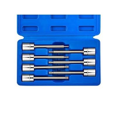 Neiko 10062A 3/8インチドライブエクストラロングトルクスソケットセット、耐タンパー、TT10-TT40、7ピース