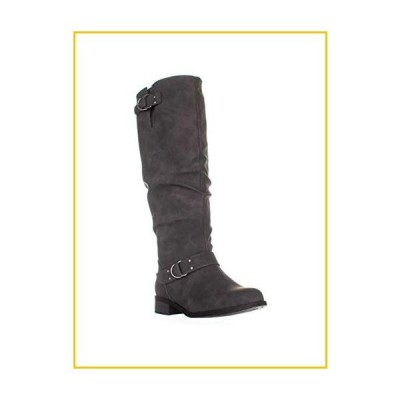 XOXO Womens minkler Leather Round Toe Mid-Calf Fashion Boots Grey