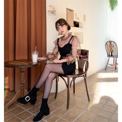 秋・冬・春の3シーズンに大活躍!韓国ファッション 百掛け 新品 気質 透けて はながら ファッション シャツ スリム キャミ・ベアワンビス 小さい新鮮な エレガント ゆったりする