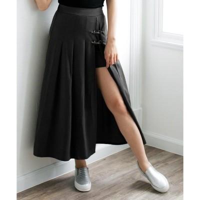 スカート ベルト付きサイドスリットロングスカート・キュロット/510351