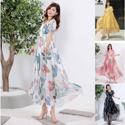 春夏 ドレス ロングドレス ワンピース マキシ丈 花柄 袖あり 半袖 シフォン ゆったり カジュアル お呼ばれ
