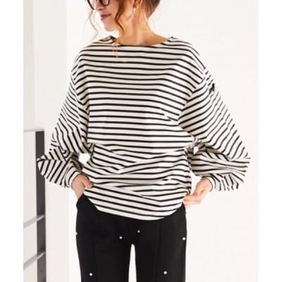 tシャツ Tシャツ 肩ロゴデザイン春色ボーダーT