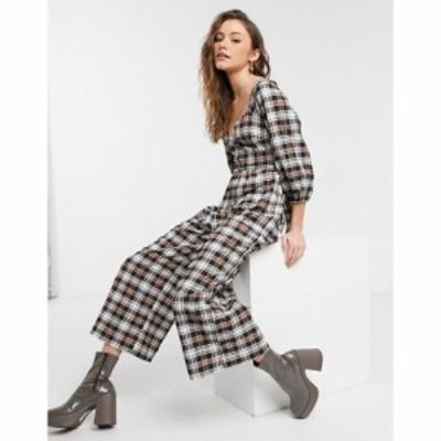 エイソス ASOS DESIGN レディース オールインワン キュロット ジャンプスーツ X Front Long Sleeve Culotte Jumpsuit In Check Print チ