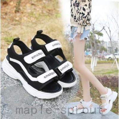 新品サンダル厚底シューズサンダル美脚韓国ファッションスニーカー夏靴通勤メサンダルス/シンプルビーチシューズ