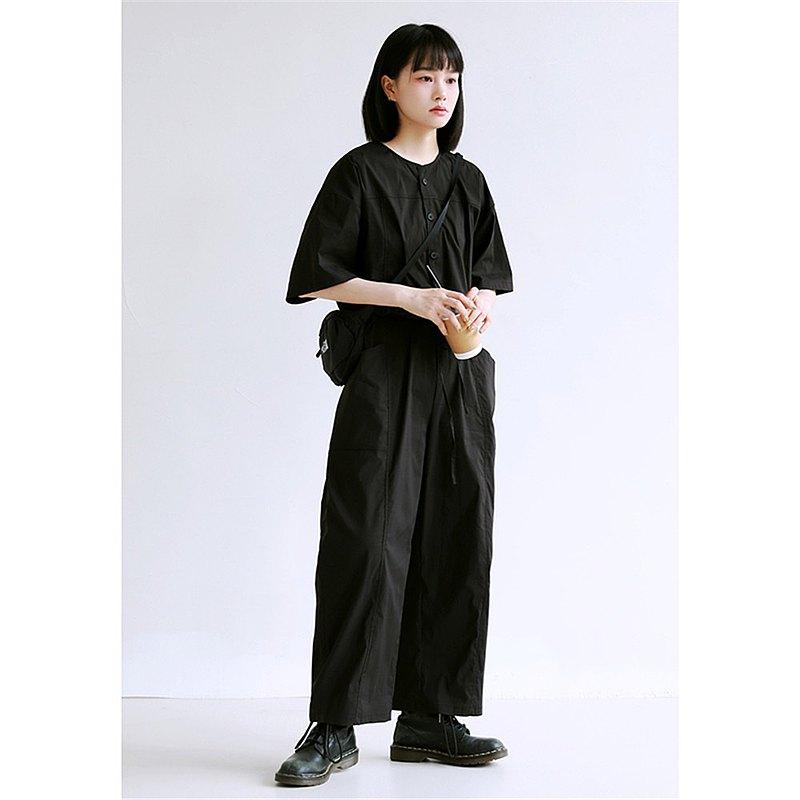 黑色 2色 各種好穿夏日經典連身褲 收腰直筒寬鬆寬褲 舒適透氣