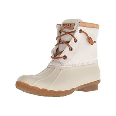 Sperry Women's Saltwater Metallic Rain Boot, Ivory, 11 M US