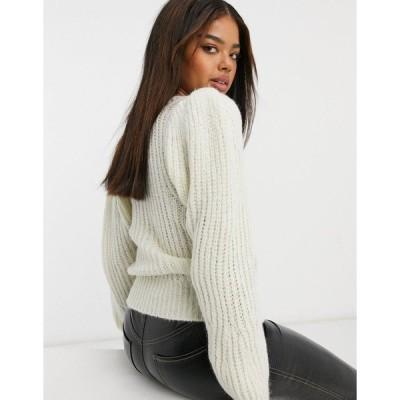エイソス レディース ニット&セーター アウター ASOS DESIGN lofty stitch sweater with volume sleeve CREAM
