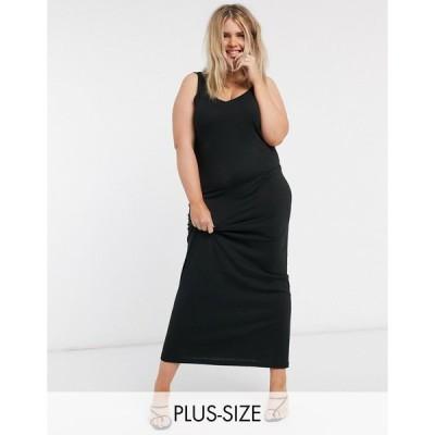 ヴェロモーダ ドレス 大きいサイズ レディース Vero Moda Curve jersey maxi dress in black エイソス ASOS ブラック 黒