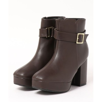 Mafmof / Realta(レアルタ) ベルトデザインスクエアトゥ厚底ショートブーツ WOMEN シューズ > ブーツ