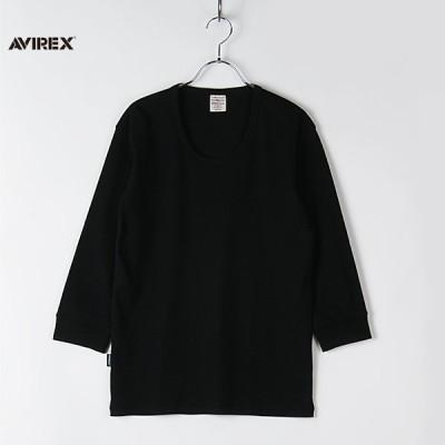 AVIREX アヴィレックス メンズ Tシャツ 七分袖  Uネック 6143509 ミリタリー タイト 無地 デイリー AV 3/4S RIB U/N