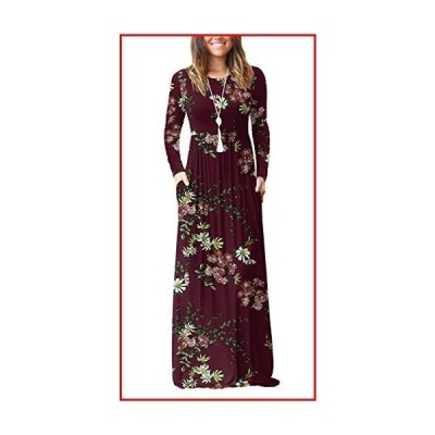 【新品】VIISHOW Women's Long Sleeve Floral Dress Loose Plain Maxi Dresses Casual Long Dresses with Pockets(Floral Wine red,X-Large)【