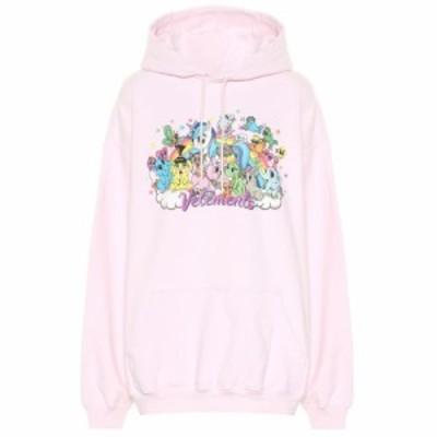 ヴェトモン Vetements レディース パーカー トップス Printed cotton hoodie Light Pink