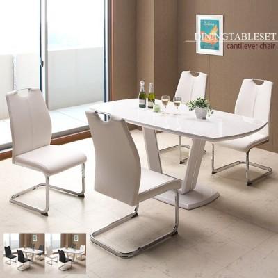 ダイニングテーブルセット 4人掛け ダイニングセット 5点セット モダン 4人用 食卓 鏡面テーブル カンティレバー