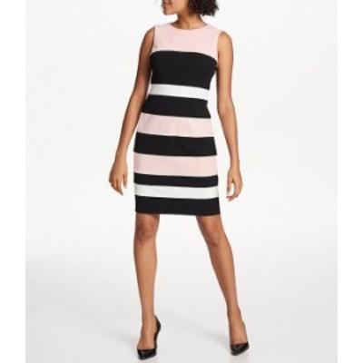 トミー ヒルフィガー レディース ワンピース トップス Colorblock Stripe Sleeveless Sheath Dress Ballerina Pink/Black/Ivory