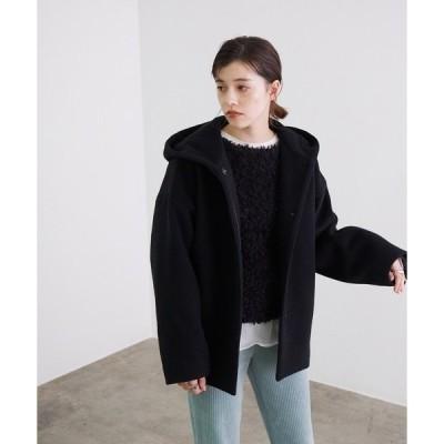 アウター 【オーストラリア羊毛使用】フーテッドコクーンショートコート