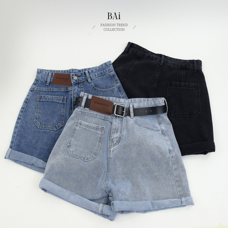 BAi 皮標造型高腰牛仔短褲M-XL號-【310636】