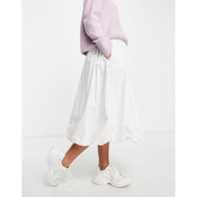エイソス レディース スカート ボトムス ASOS DESIGN cotton puffball midi skirt in white White
