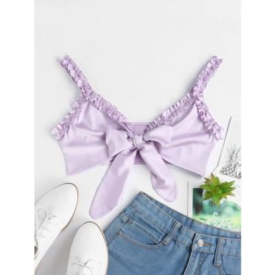 サテン蝶結びフリルクロップタンクトップ - 紫の