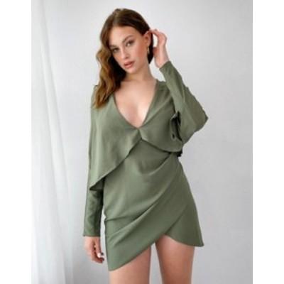 エイソス レディース ワンピース トップス ASOS DESIGN Tall cape mini dress with wrap skirt Khaki