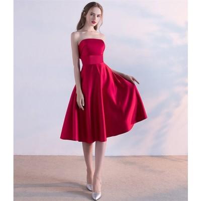 カラードレス パーティードレス ショートドレス ワンピース おしゃれ ウェディングドレス お呼ばれ セクシー 高級ドレス ワンピ ミニドレス 結婚式[レッド]