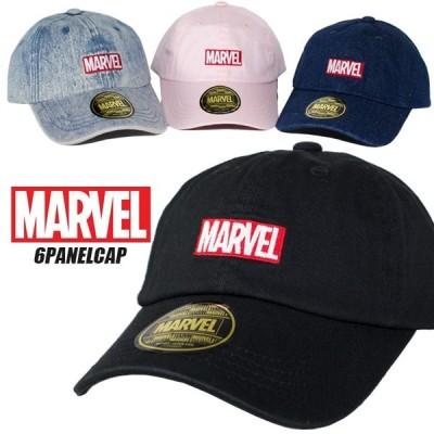 マーベル キャップ MARVEL キャップ 帽子 MARVEL BOX LOGO ローキャップ  6パネルキャップ ピンク デニム コットン