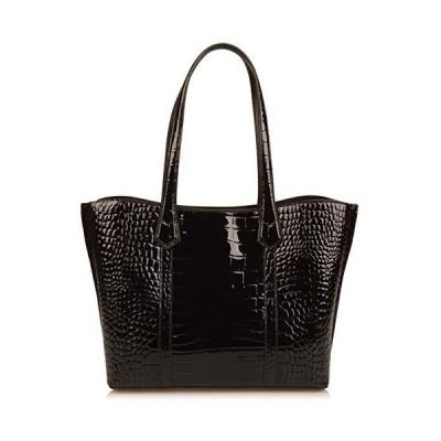 (新品) Ainifeel Women's Crocodile Embossed Patent Leather Totes Shopping Bags (Black (patent cow leather))