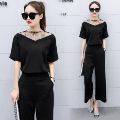 韓国 ファッション パンツドレス セットアップ レディース 大きいサイズ 袖あり 結婚式 ワイドパンツ レース シースルー きれいめ 半袖