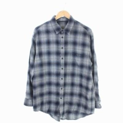 【中古】エーピーストゥディオ AP STUDIO 19SS チェックシャツ ネイビー コットン ダメージ加工 長袖 紺 /KN メンズ
