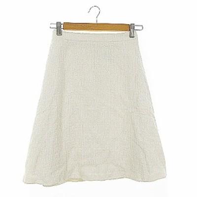 【中古】未使用品 アナトリエ ANATELIER スカート フレア ひざ丈 ツイード 36 白 ホワイト /AAM25 レディース