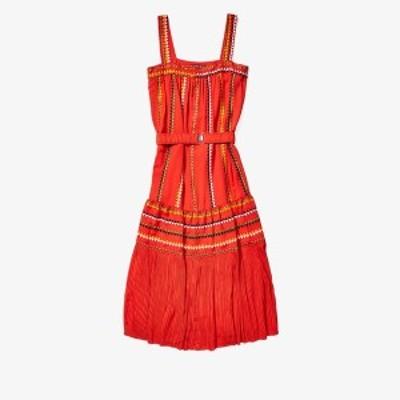 デレクラム レディース ワンピース トップス Embroidered Tank Dress Blood Orange