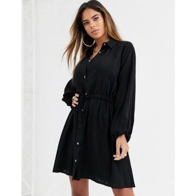 エイソス ミディドレス レディース ASOS DESIGN mini shirt dress with drawstring waist エイソス ASOS ブラック 黒