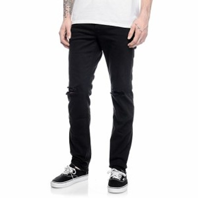 エンパイア EMPYRE メンズ ジーンズ・デニム ボトムス・パンツ Empyre Skeletor Knee Slit Black Skinny Jeans Black