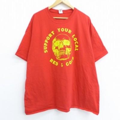 古着 半袖 Tシャツ スカル レッド ゴールド 大きいサイズ コットン クルーネック 赤 XLサイズ 中古 メンズ Tシャツ 古着