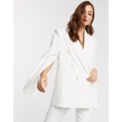 エイソス レディース ジャケット・ブルゾン アウター ASOS DESIGN split sleeve suit blazer in texture White