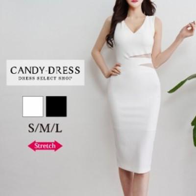 S/M/L 送料無料 Luxury Dress ストレッチ無地×ウエストサイドシースルーデザインVネックノースリーブタイトミディドレス PE200301 韓国
