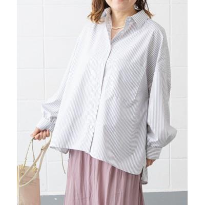抜き衿美人 UVカットストライプシャツ