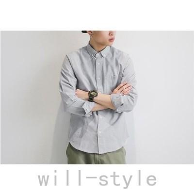 メンズシャツボタンダウンシャツ長袖シャツカジュアルシャツスリムビジネス通勤通学シンプルメンズファッション2020新春セール