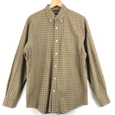 【古着】 NAUTICA ノーティカ チェックシャツ ボタンダウン 長袖 ベージュ系 メンズM 【中古】 n023915