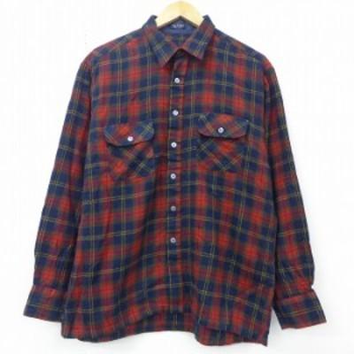 古着 長袖 シャツ 80年代 80s 赤他 レッド チェック Lサイズ 中古 メンズ トップス シャツ トップス 古着