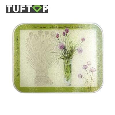 タフトップ TUFTOP ガラスまな板 カントリー 小 23×30cm 四角 Chives アウトレット