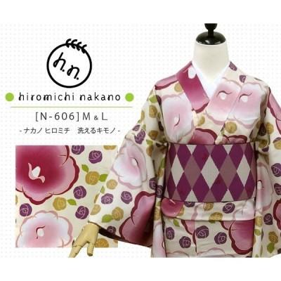 売り尽くしセール 洗える着物 ナカノ ヒロミチ N-606/薄ベージュ:ツバキ  [hiromichi nakano]