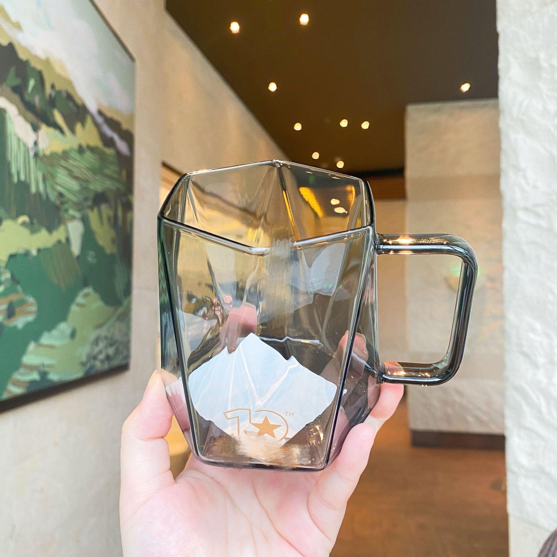 星爸爸十周年黑色立體切面玻璃杯創意辦公室男生咖啡杯星巴風水杯