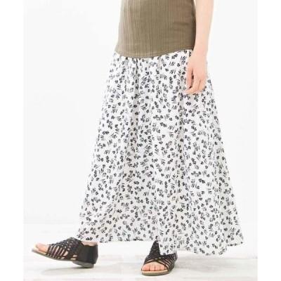 スカート モノトーンフラワープリント ギャザースカート