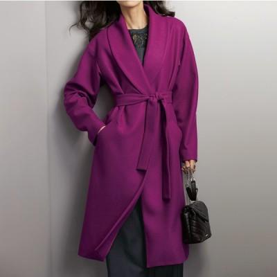 セールアイテム ファッション コート イタリア素材 ウールジャージー ショールカラー コート PC8543