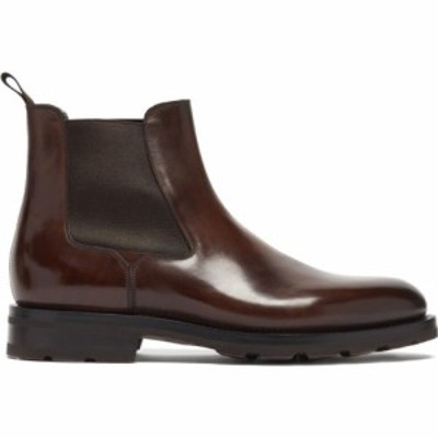 サントーニ Santoni メンズ ブーツ チェルシーブーツ シューズ・靴 Colin leather Chelsea boots Dark brown