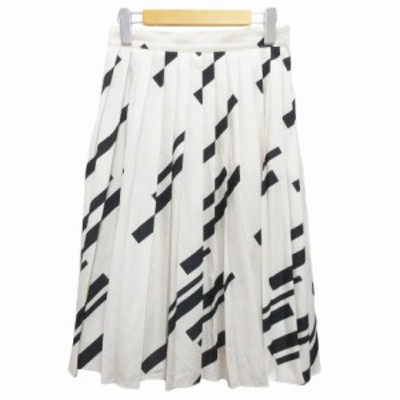 【中古】ミラオーウェン Mila Owen プリーツスカート ひざ丈 総柄 0 白 ホワイト 黒 ブラック レディース