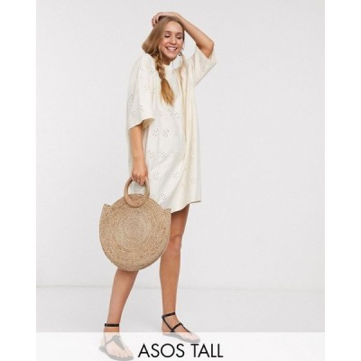 エイソス ASOS Tall レディース ワンピース Tシャツワンピース ASOS DESIGN Tall broderie super oversized t-shirt dress in cream クリーム