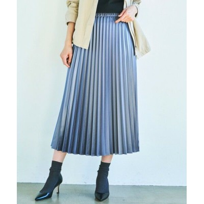S size ONWARD(小さいサイズ)/エスサイズオンワード サテンプリーツ レザー スカート ダルブルー系 32