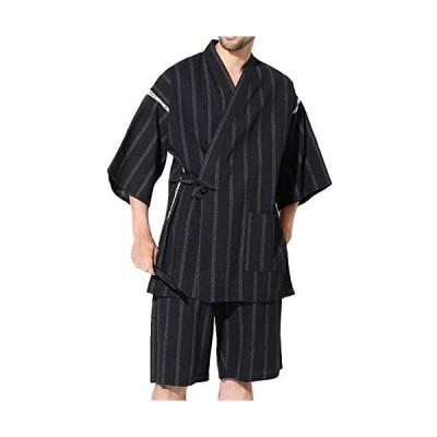 JIGGYS SHOP 甚平2点セット (甚平上下 扇子) メンズ 甚平上下セット しじら織り 綿100% 和服 (黒太縞 S)
