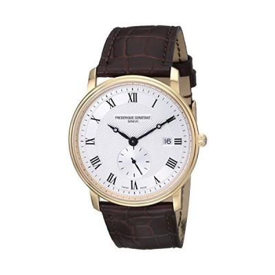 Frederique Constant Men's 39mm Brown Leather Gold Tone Case Watch FC-245M5S5 [並行輸入品]
